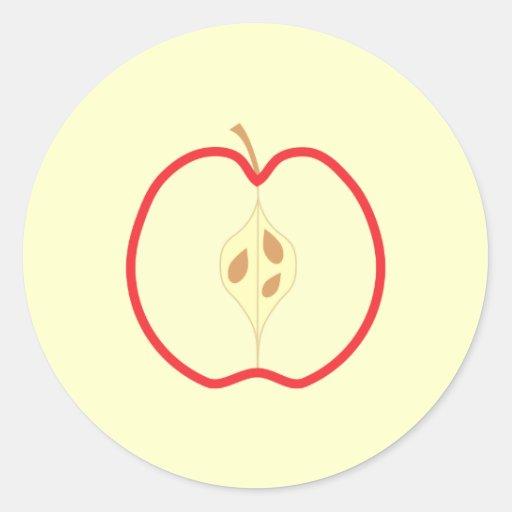 Apple rojo medio, en el fondo poner crema etiquetas redondas