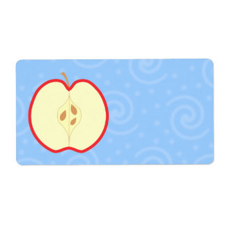 Apple rojo medio. Fondo azul del modelo del remoli Etiqueta De Envío