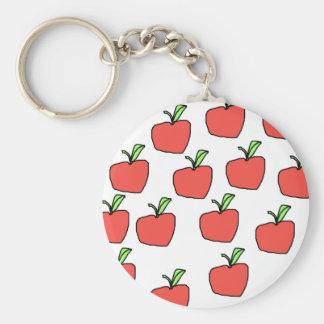 Apple rojo modela llavero redondo tipo pin