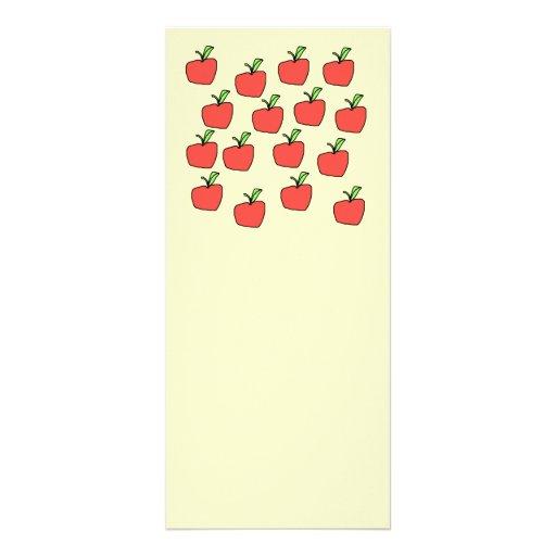 Apple rojo modela tarjeta publicitaria