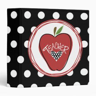 """Apple rojo/negro con los lunares blancos carpeta 1 1/2"""""""