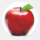 Apple rojo (paquete de 6/20) etiquetas redondas