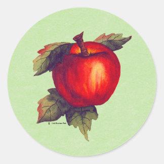 Apple rojo pegatina redonda