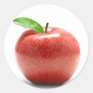 Apple rojo etiquetas redondas