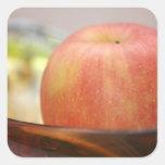 Apple rojo pegatina cuadrada