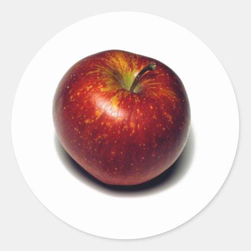 Apple rojo pegatinas redondas