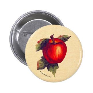 Apple rojo pin redondo 5 cm