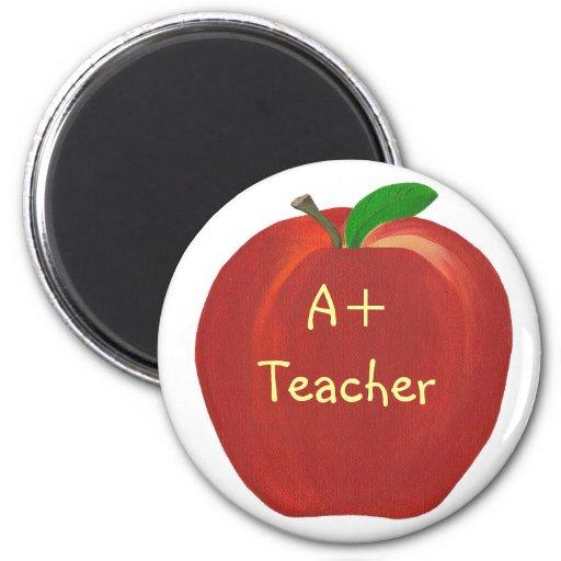 Apple rojo que pinta, A+ Imanes del profesor Imán Redondo 5 Cm
