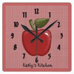 Apple (rojo) reloj cuadrado