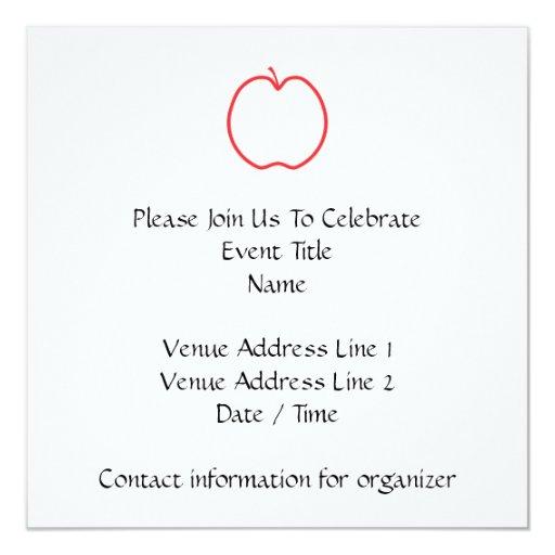 Apple rojo resume, en el fondo blanco invitación 13,3 cm x 13,3cm