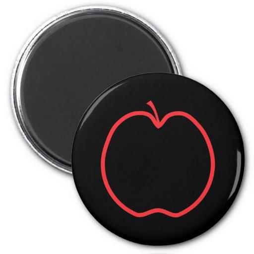 Apple rojo resume imán redondo 5 cm