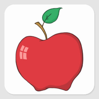 Apple rojo simple pegatina cuadrada