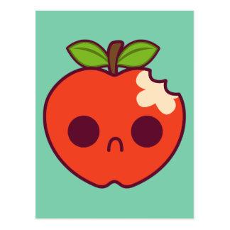 Apple rojo triste, mordido en un fondo verde postales