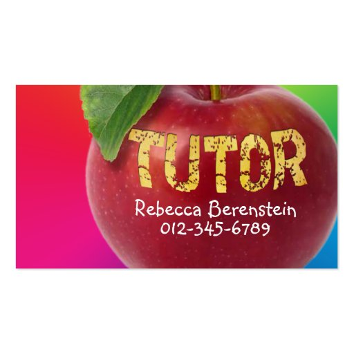 Apple rojo Tutor la tarjeta de visita rosada roja