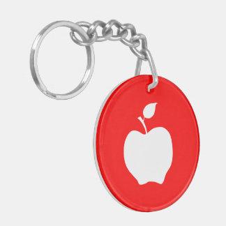 Apple rojo y blanco llavero redondo acrílico a doble cara