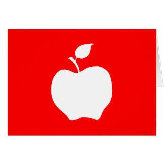 Apple rojo y blanco tarjeta de felicitación