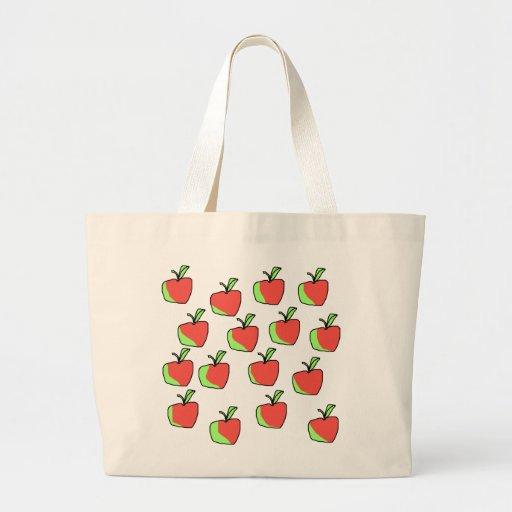 Apple rojo y verde modela bolsa tela grande