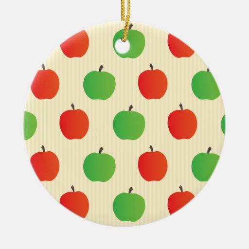 Apple rojo y verde modela adorno redondo de cerámica