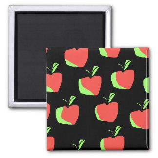 Apple rojo y verde modela imán cuadrado