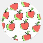 Apple rojo y verde modela pegatina redonda