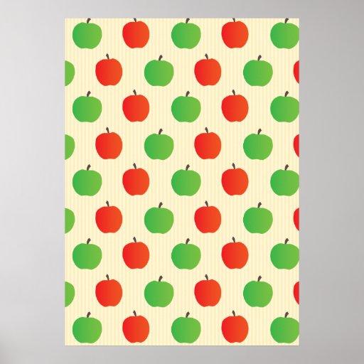 Apple rojo y verde modela póster