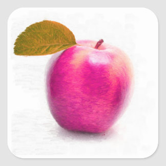 Apple rosado da fruto arte de la pintura - calcomanías cuadradas