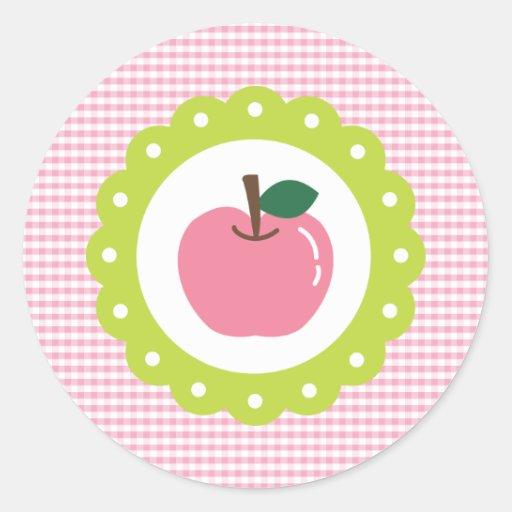 Apple rosado femenino pegatina redonda