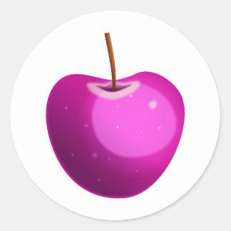 Apple rosado pegatinas redondas