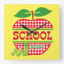 Apple School Is Cool Square Wall Clock