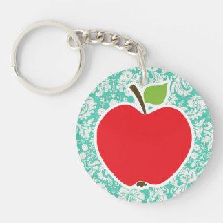 Apple; Seafoam Green Damask Double-Sided Round Acrylic Keychain