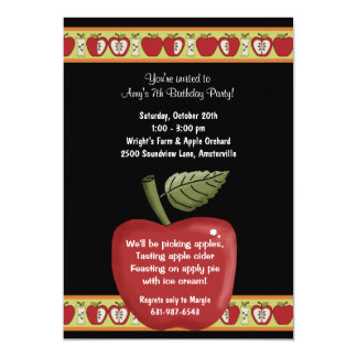 "Apple Seeds - Party Invitation 5"" X 7"" Invitation Card"