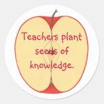 Apple, semillas de la planta de los profesores de pegatinas redondas