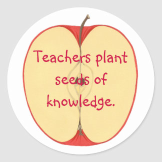 Apple, semillas de la planta de los profesores de pegatina redonda