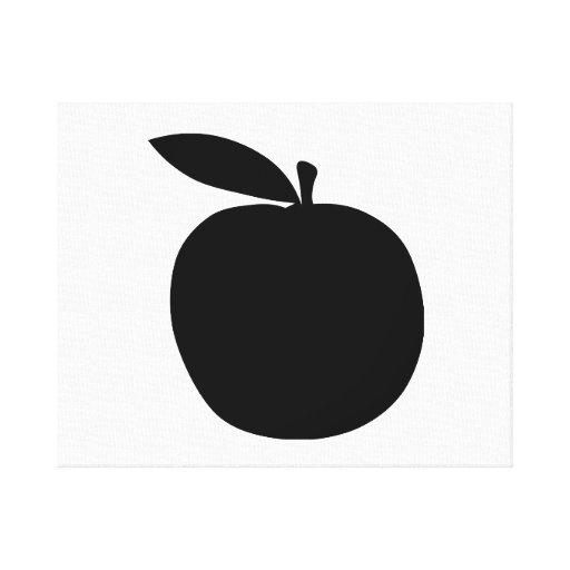 Apple siluetea impresión en lienzo estirada