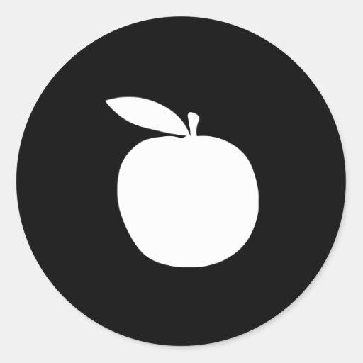 Apple siluetea pegatina redonda