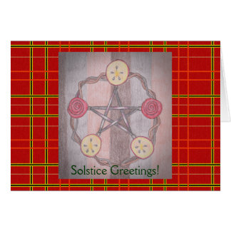 Apple Slice Pentacle Winter Solstice Red Plaid Card