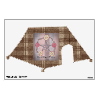 Apple Slice Pentacle Wreath Brown Plaid Wall Sticker