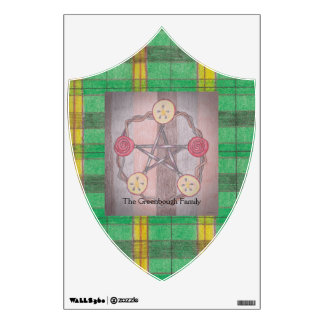 Apple Slice Pentacle Wreath Green Plaid Wall Sticker