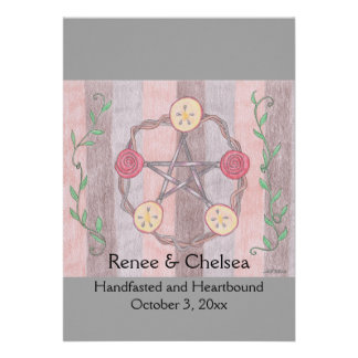 Apple Slice Pentacle Wreath Handfasting Wedding Personalized Invitation