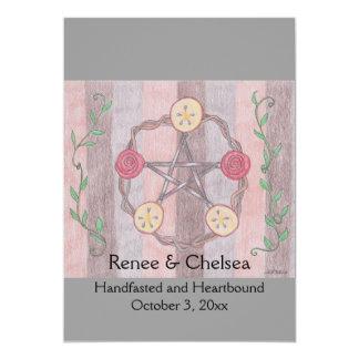 """Apple Slice Pentacle Wreath Handfasting Wedding 5"""" X 7"""" Invitation Card"""
