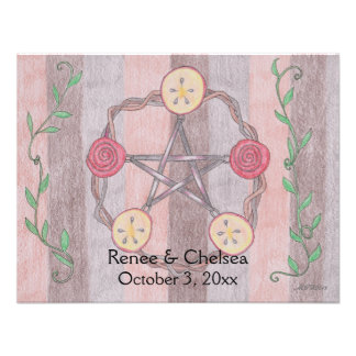 Apple Slice Pentacle Wreath Handfasting Wedding Custom Invites