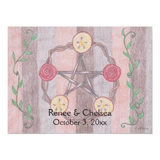 Apple Slice Pentacle Wreath Handfasting Wedding Invitation