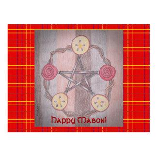 Apple Slice Pentacle Wreath Mabon Red Plaid Postcard