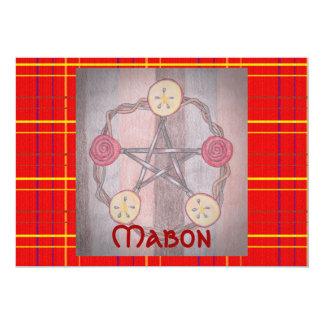 Apple Slice Pentacle Wreath Red Plaid Mabon Card