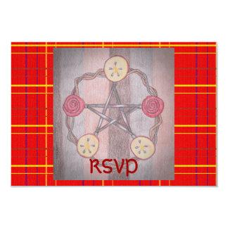 Apple Slice Pentacle Wreath Red Plaid Mabon Custom Invitation