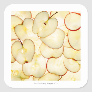 apple slices backlit and arranged in abstract square sticker
