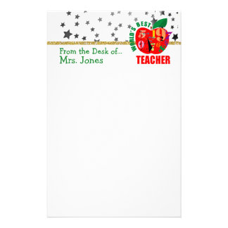 Apple Stars Glitter World's Best Teacher Stationery