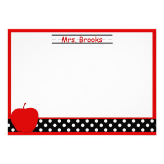 Apple Teacher Stationery Note Cards Announcements
