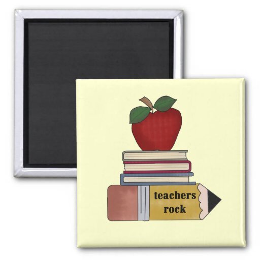 Apple Teachers Rock Tshirts and Gifts 2 Inch Square Magnet