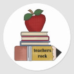 Apple Teachers Rock Tshirts and Gifts Classic Round Sticker